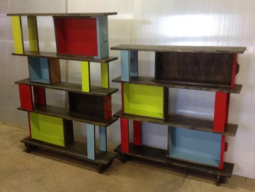 1 bibliothéque tiroirs en deux parties