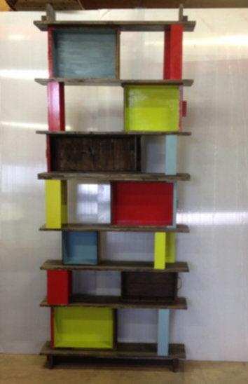 2 bibliothéque tiroirs en deux parties
