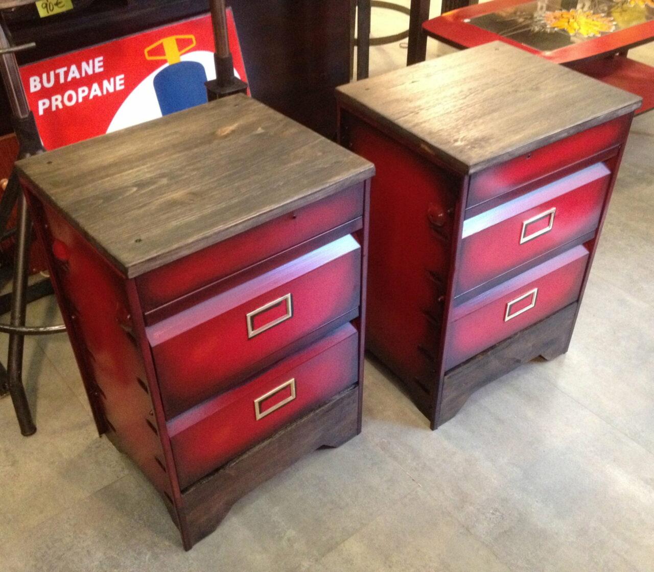 meuble a clapet table de chevet patine rouge 2