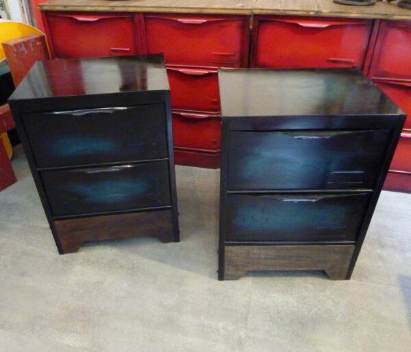 meuble a clapet table de chevet patine verte 3