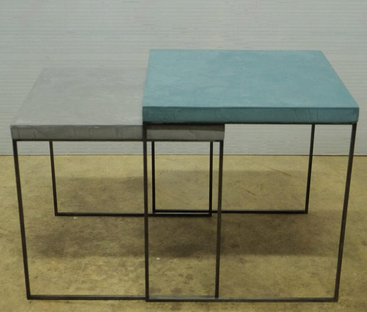 3Tavolino Cementino Tables gigogne béton ciré