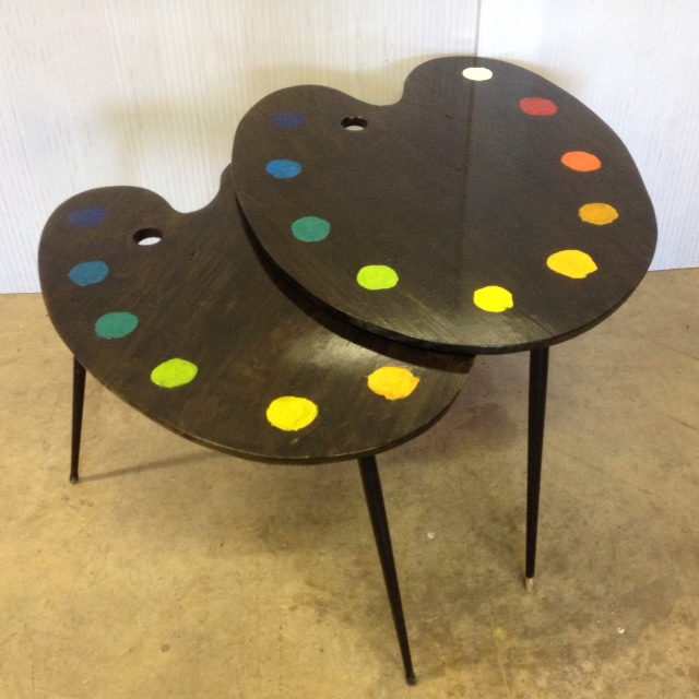2 table basse tripodes gigogne palette de peintre sur mesure 3