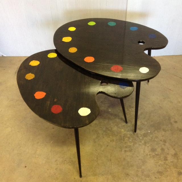 3 table basse tripodes gigogne palette de peintre sur mesure