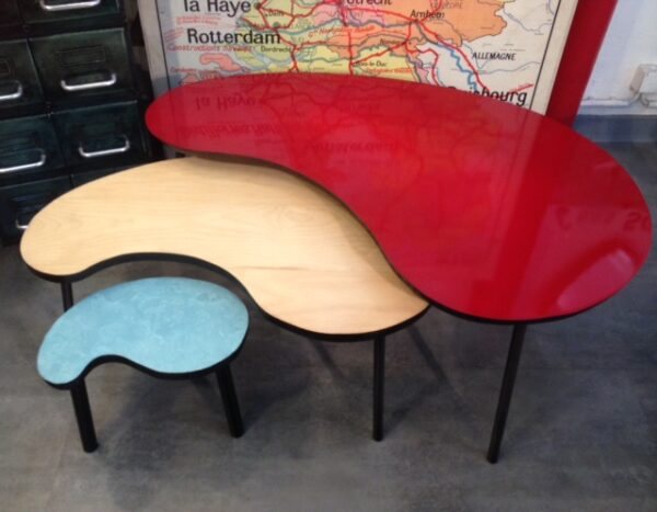4 Table basse tripode haricot sur mesure beton 5