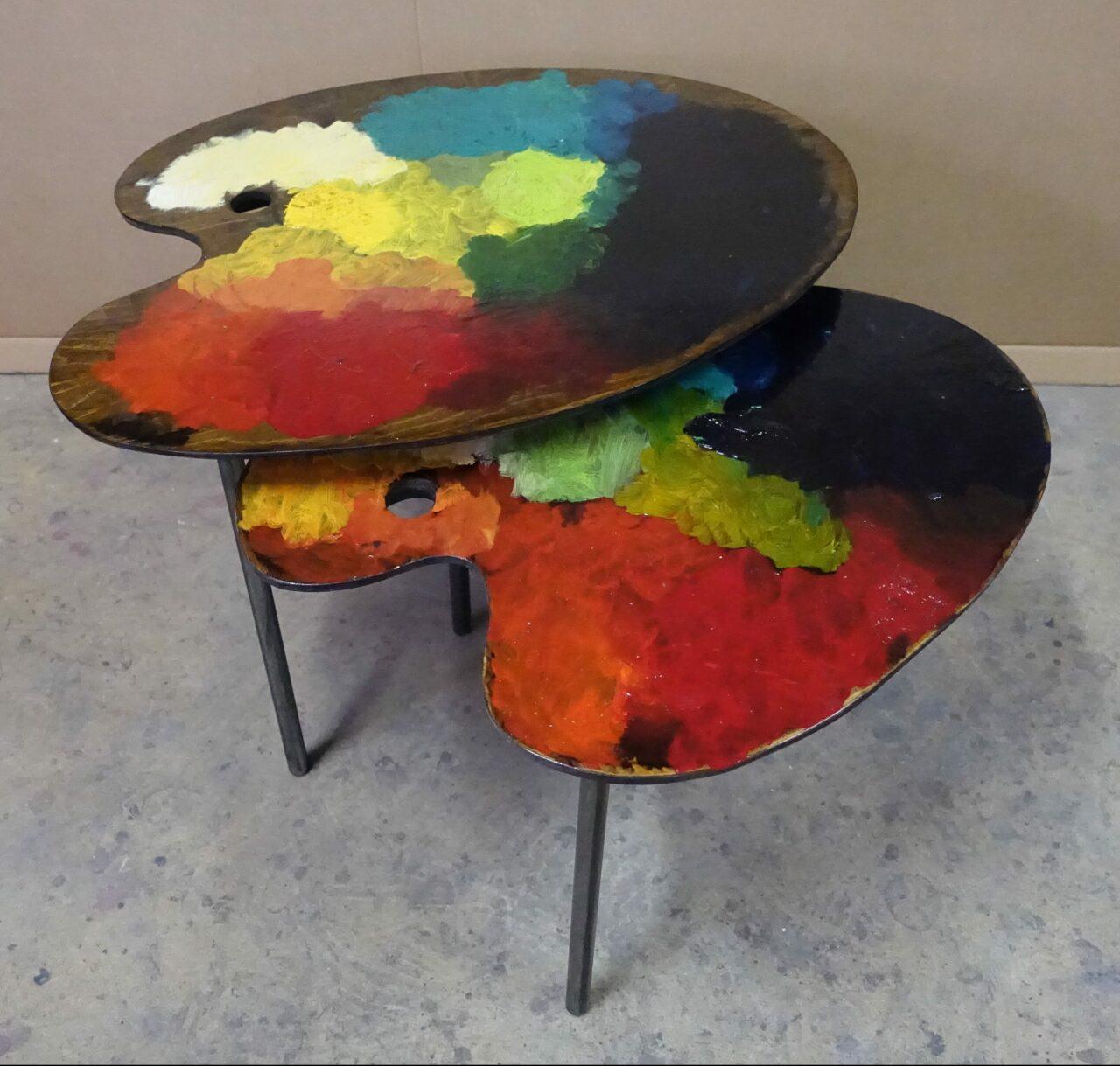 5 table basse tripodes gigogne palette de peintre sur mesure DSC02686
