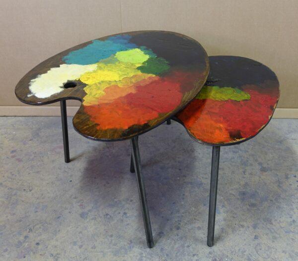 6 table basse tripodes gigogne palette de peintre sur mesure DSC02689