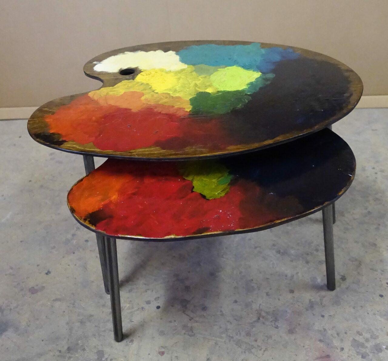 8 table basse tripodes gigogne palette de peintre sur mesure DSC02700