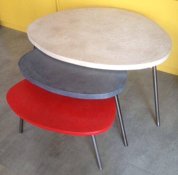 table basse gigogne tripode béton ciré mobilier industriel anna colore industriale