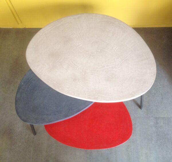 table basse gigogne tripode béton ciré mobilier industriel anna colore industriale 25