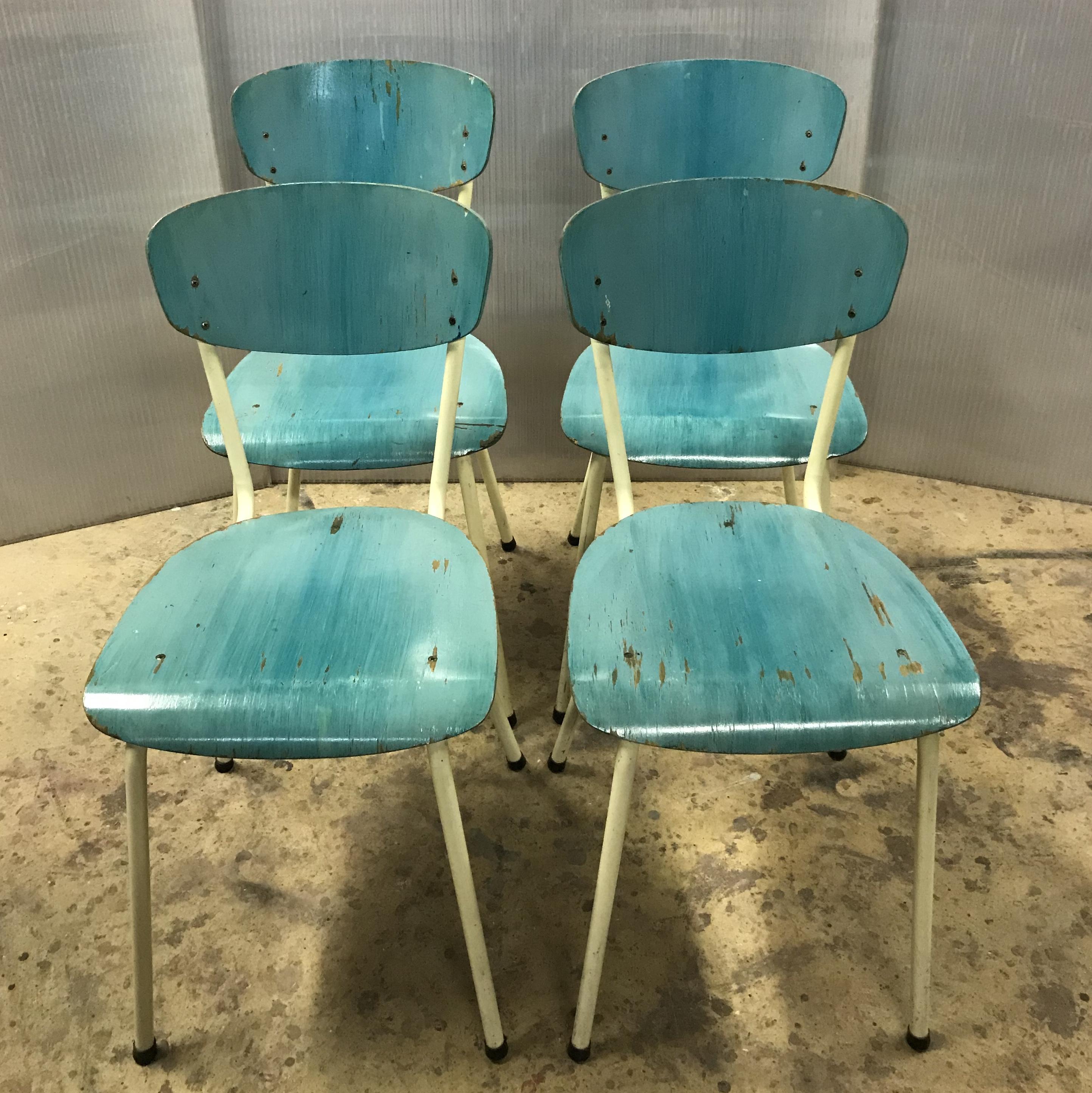 Chaises Vintage Ancienne Metal Bois Turquoise Formica Mobilier Industriel Meuble D Usine Chaise Tolix