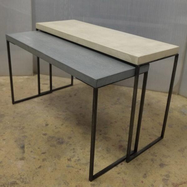 mobilier industriel table basse en béton sur mesure tables gigogne béton ciré design italien Anna Farina fabrication française meuble d usine mobilier industriel vintage-11
