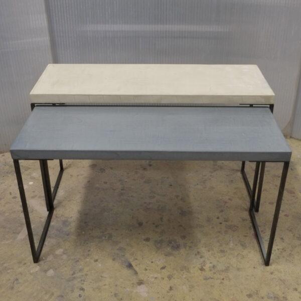 mobilier industriel table basse en béton sur mesure tables gigogne béton ciré design italien Anna Farina fabrication française meuble d usine mobilier industriel vintage-5