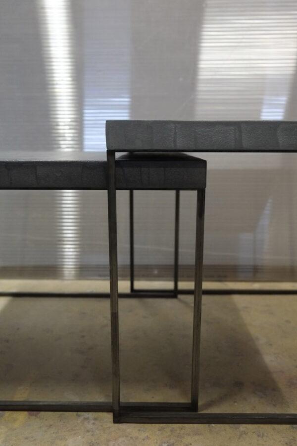 11-Table basse en béton acier sur mesure mobilier industriel pièce unique design italien Anna Farina fabrication artisanal Anna colore industriale