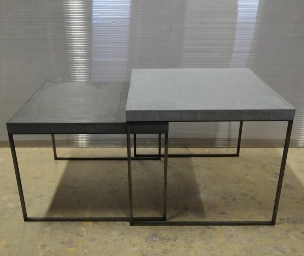 16-Table basse en béton acier sur mesure mobilier industriel pièce unique design italien Anna Farina fabrication artisanal Anna colore industriale