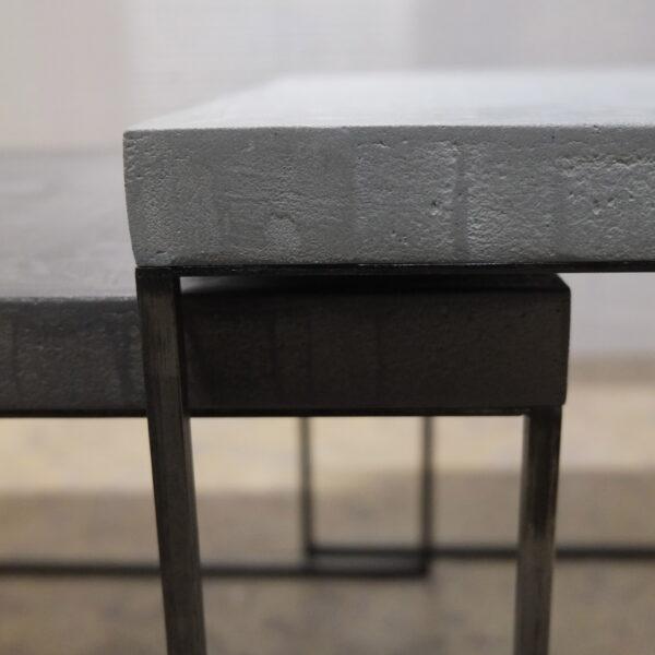 27-Table basse en béton acier sur mesure mobilier industriel pièce unique design italien Anna Farina fabrication artisanal Anna colore industriale