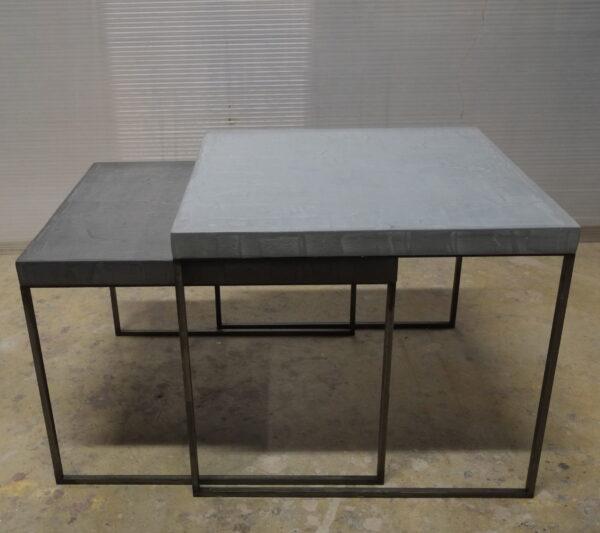 53-Table basse en béton acier sur mesure mobilier industriel pièce unique design italien Anna Farina fabrication artisanal Anna colore industriale
