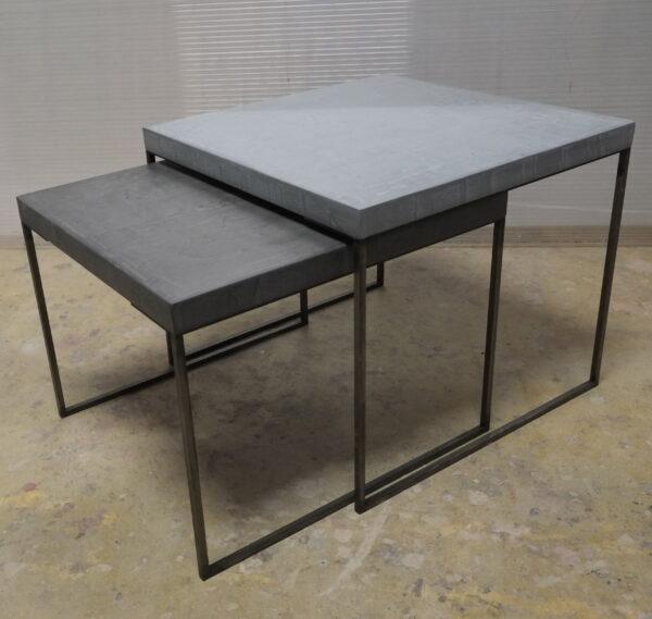 63-Table basse en béton acier sur mesure mobilier industriel pièce unique design italien Anna Farina fabrication artisanal Anna colore industriale
