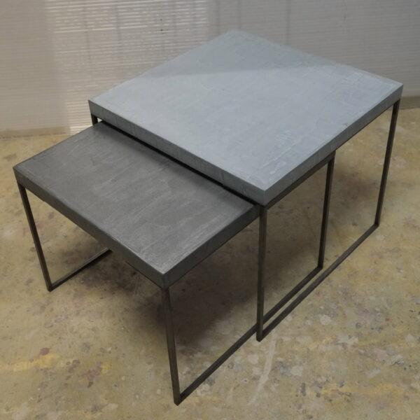 65-Table basse en béton acier sur mesure mobilier industriel pièce unique design italien Anna Farina fabrication artisanal Anna colore industriale