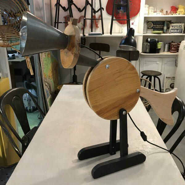 PIÚ PIÚ LAMPE DE COMPAGNIE Création Lampe articulé en bois MOBILIER INDUSTRIEL Design Italien Anna Farina fabrication artisanale piece unique ANNA COLORE INDUSTRIALE-1