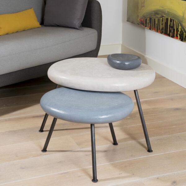 ANNA COLORE INDUSTRIALE table basse en béton sculpté pièce unique sur mesure fabrication artisanale design Anna Farina-7