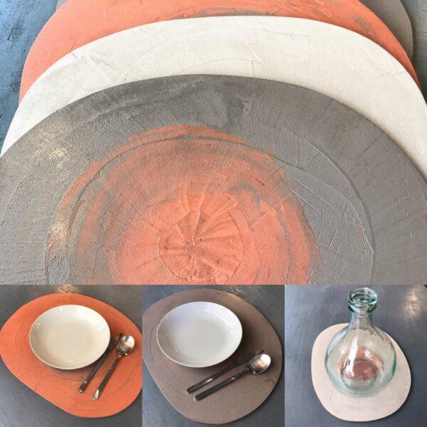 1 Plateaux set de table MOBILIER en BÉTON gm mobilier industriel art de la table BOLLE Design italien Anna Farina fabrication artisanale pièce unique ANNA COLORE INDUSTRIALE. COM JPG