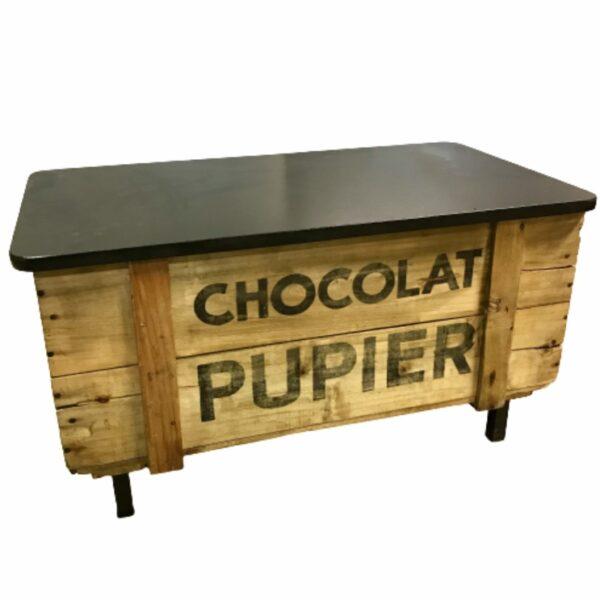 BOITE CHOCOLAT PUBIER TRANFORME EN COFFRE DE RANGEMENT ET BANC MOBILIER INDUSTRIEL ANNA COLORE INDUSTRIALE-5