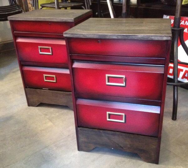 meuble a clapet table de chevet patine rouge 1