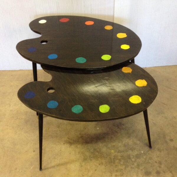 1 table basse tripodes gigogne palette de peintre sur mesure 2