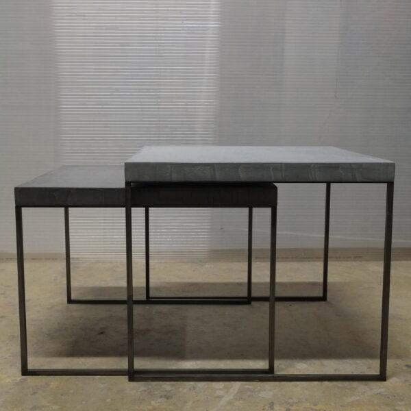 57-Table basse en béton acier sur mesure mobilier industriel pièce unique design italien Anna Farina fabrication artisanal Anna colore industriale